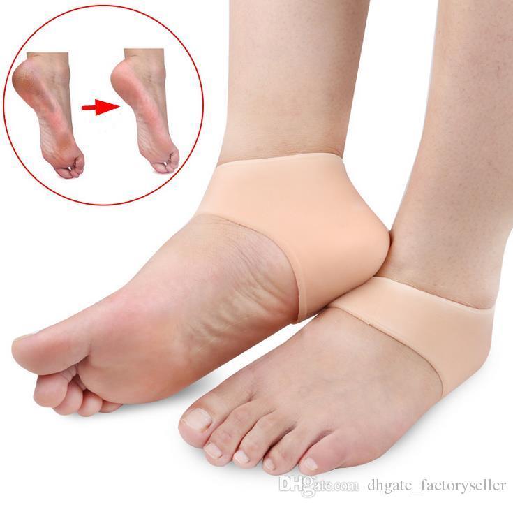 Silicone idratante tallone Cracked Protezioni cura del piede Calze strumento calzini gel con piccoli fori 1 paio strumento di cura del piede US03