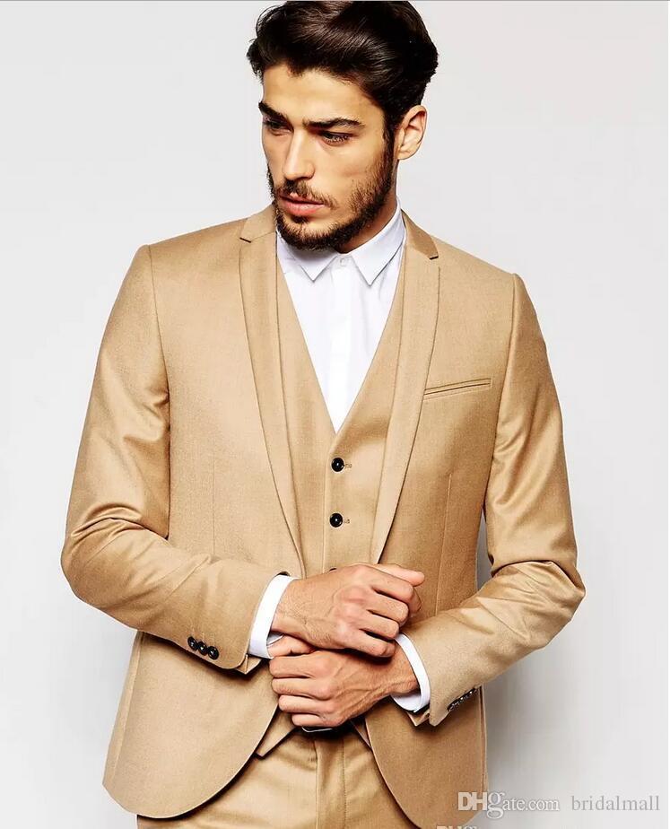 Yakışıklı Sabah Altın Gelinlik Slim Fit Mens Damat smokin Özel Akşam İş Örgün Balo Suits ceket + pantolon + Vest Takımları Takımları