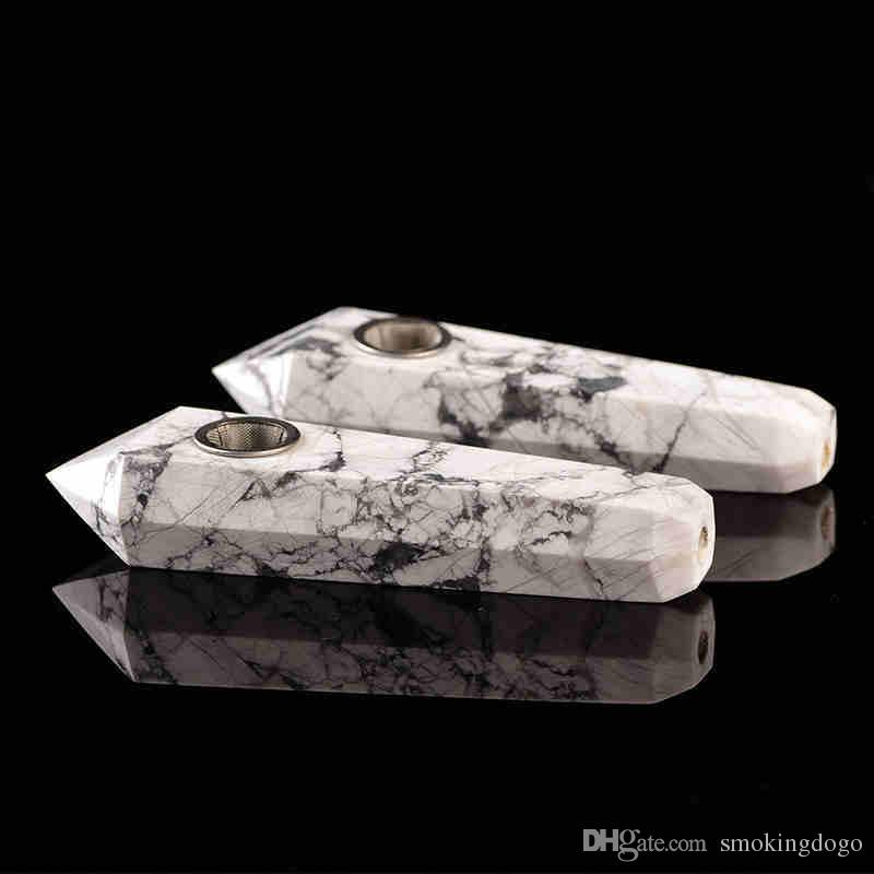 Smoking Dogo 2018 Hand Made High Quality Stone Pipe Natural Crystal Smoking Pipes White Turquoise Pipes for Smoking CPP-002