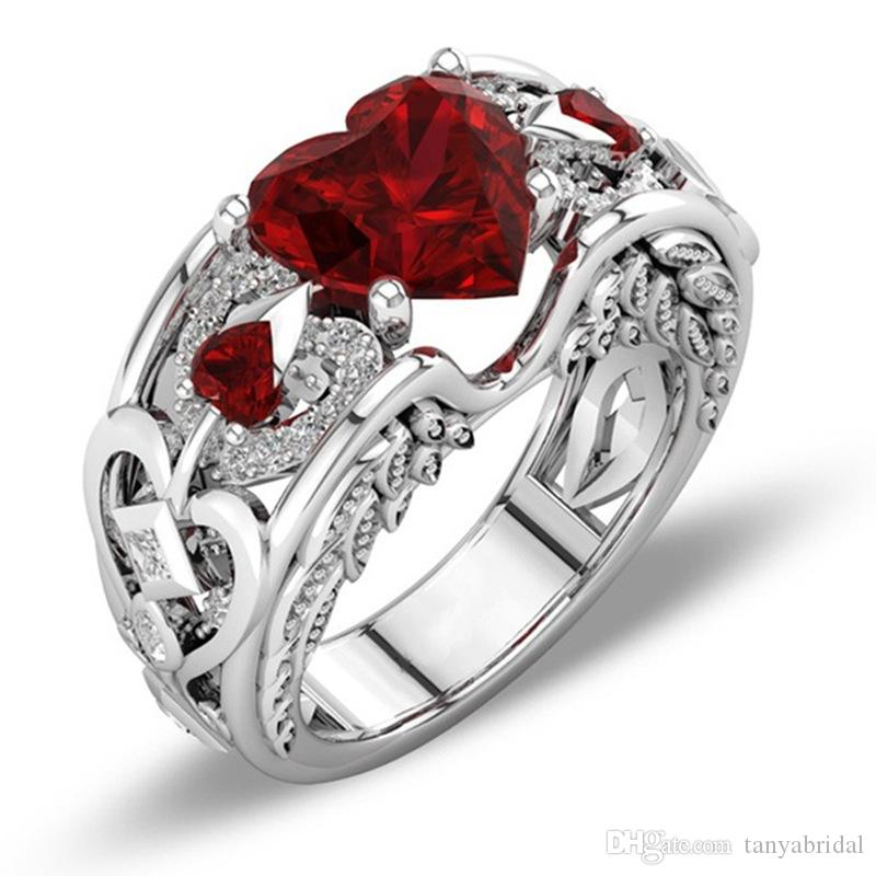 Luxury Heart Solid plated crystal Zircon Gemstone Ring engagement wedding lovers couple Ring cheap Accessories