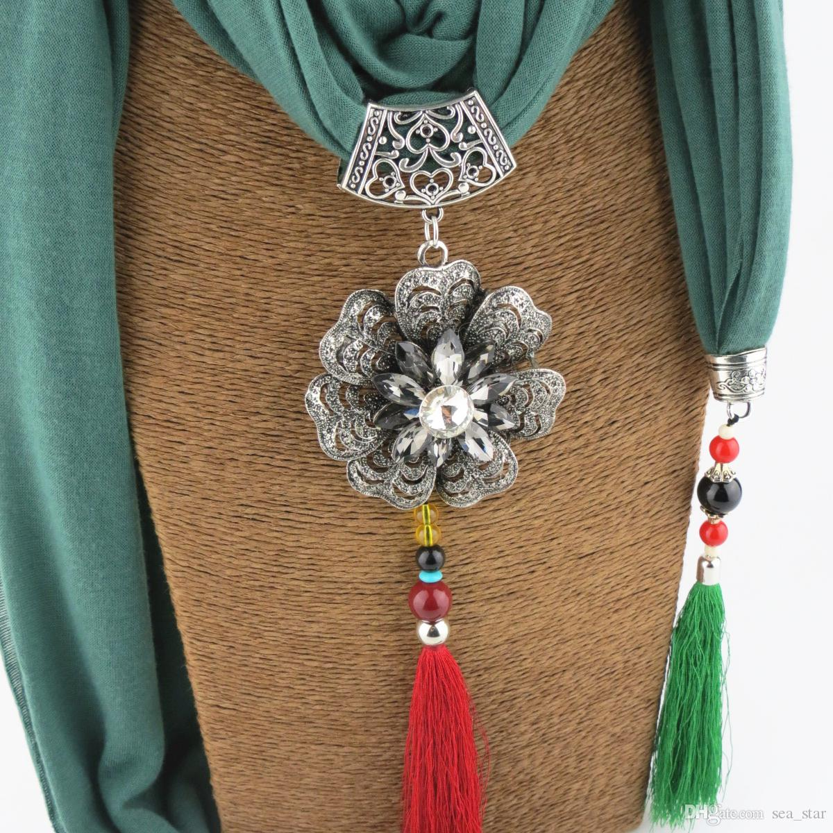 2017 New Design women's Jewellry Scafs Alloy Flower Pendant Scarves Ceramic Beads Tassel Necklace Scarf Polyester Long Style Nikle-Free