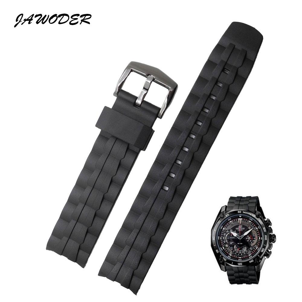 0f06e9f5bc2 JAWODER Watchband 28mm Black Silicone Rubber Watch Band Stainless ...