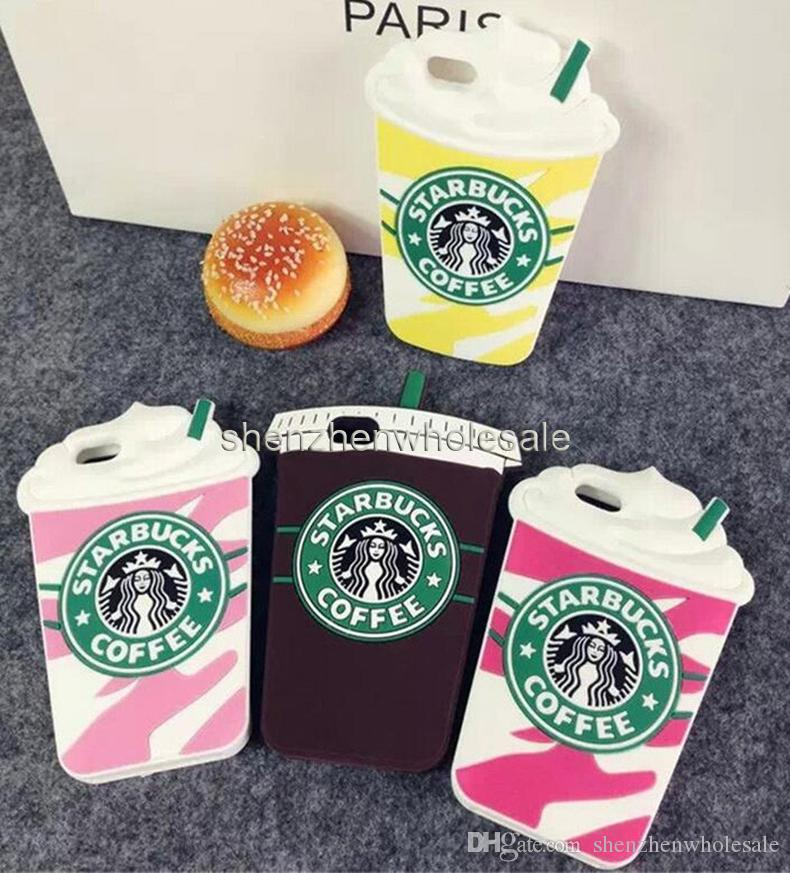 Hot Sale 3D Cartoon Silicon Starbuck Coffee Cup Case Cover for Smart Phone Cell Phone Samsung Galaxy S7 EDG Mobile Phones