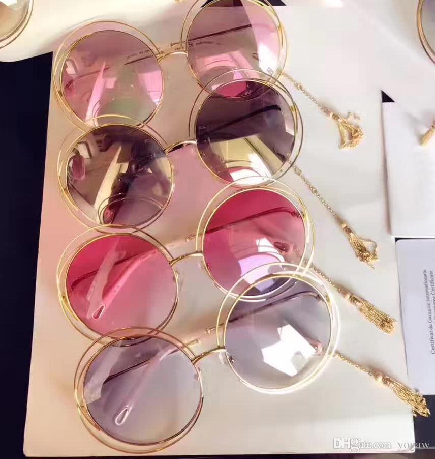 Mulheres CARLINA CE 138S Ouro Transparente rosa óculos de sol 62mm Moda Sunglass mulheres óculos de sol novo com caixa