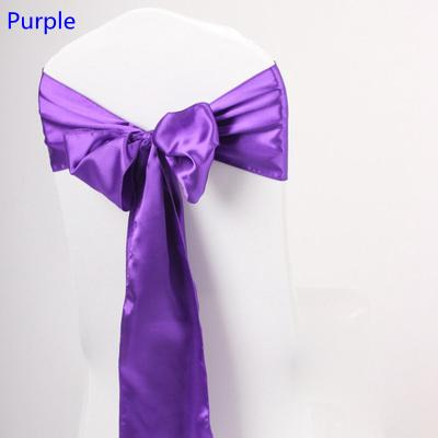 Purple colour satin sash chair high quality bow tie for chair covers sash party wedding hotel banquet home decoration wholesale