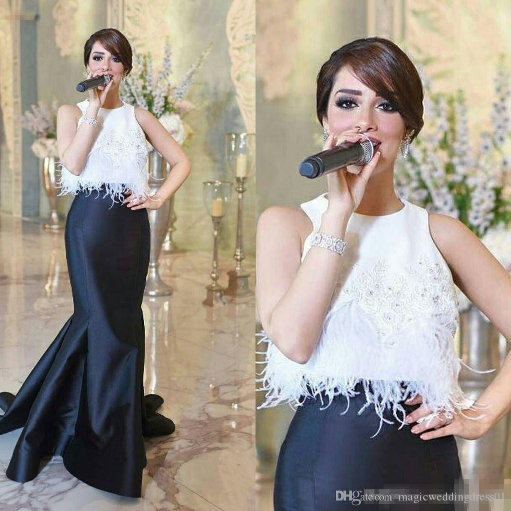 Saudi Arabic Two Piece Feather Evening Gowns Black & White Mermaid ...