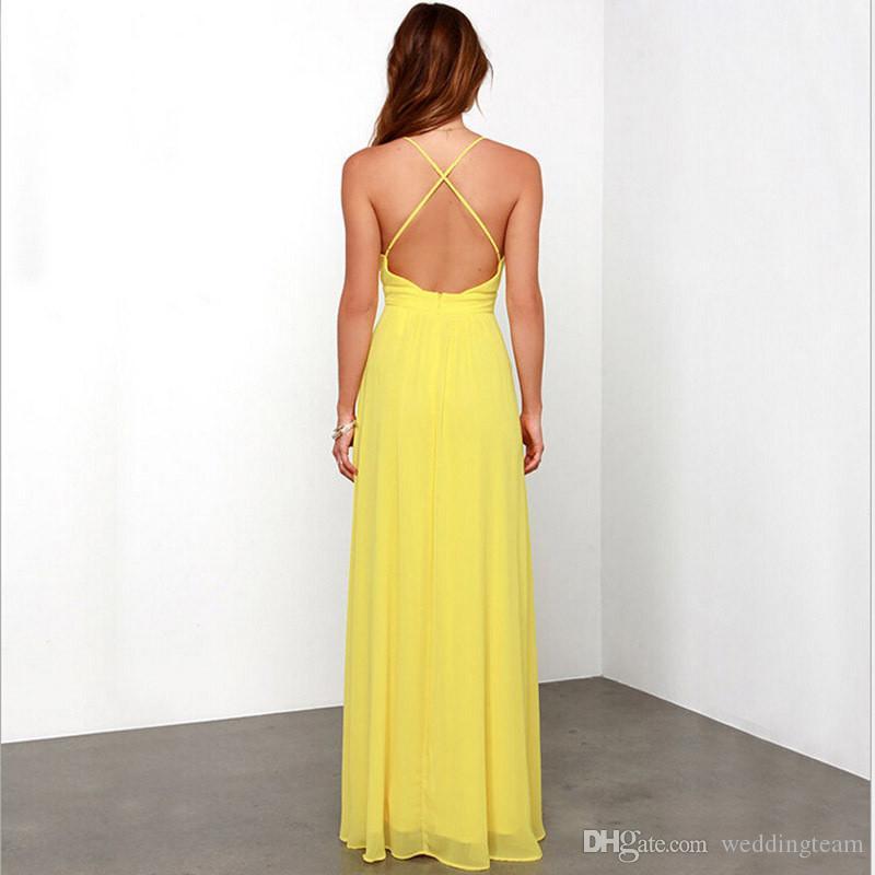 Sexy Günstige gelbe backlose Brautjungfern Kleider Tief V-ausschnitt Spaghetti Chiffion Strand Brautjungfernkleid Kreuzgurt Für Hochzeits-Party-Kleider