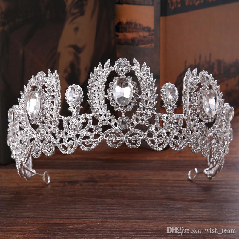 2017 Nuevo Lujo Hecho A Mano brillante Rhinestone Nupcial Tiara Diadema de Cristal de Moda para Las Mujeres Vestido de Novia accesorios para el cabello