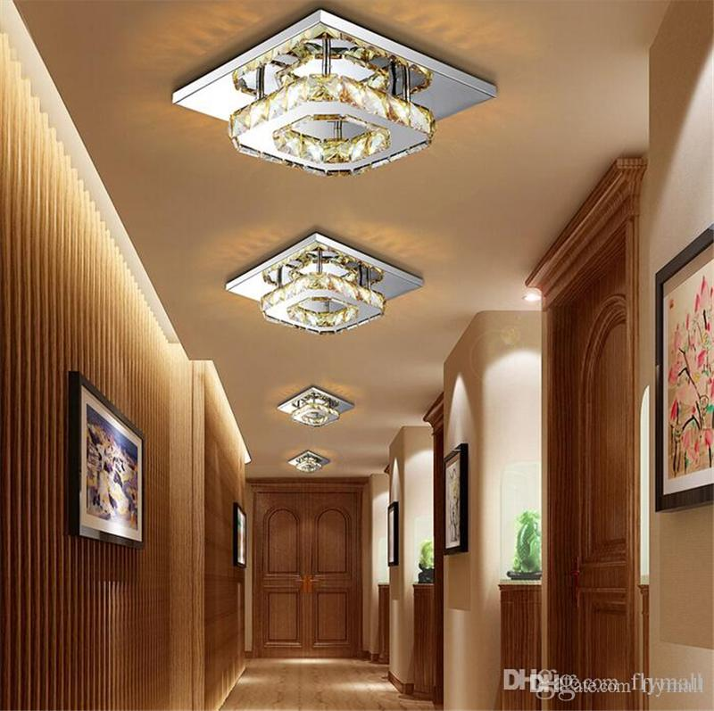 Modern Crystal LED Ceiling Lights Fixture Square Surface Mounting Crystal Ceiling Lamp Hallway Corridor Asile Light Chandelier Ceiling Light