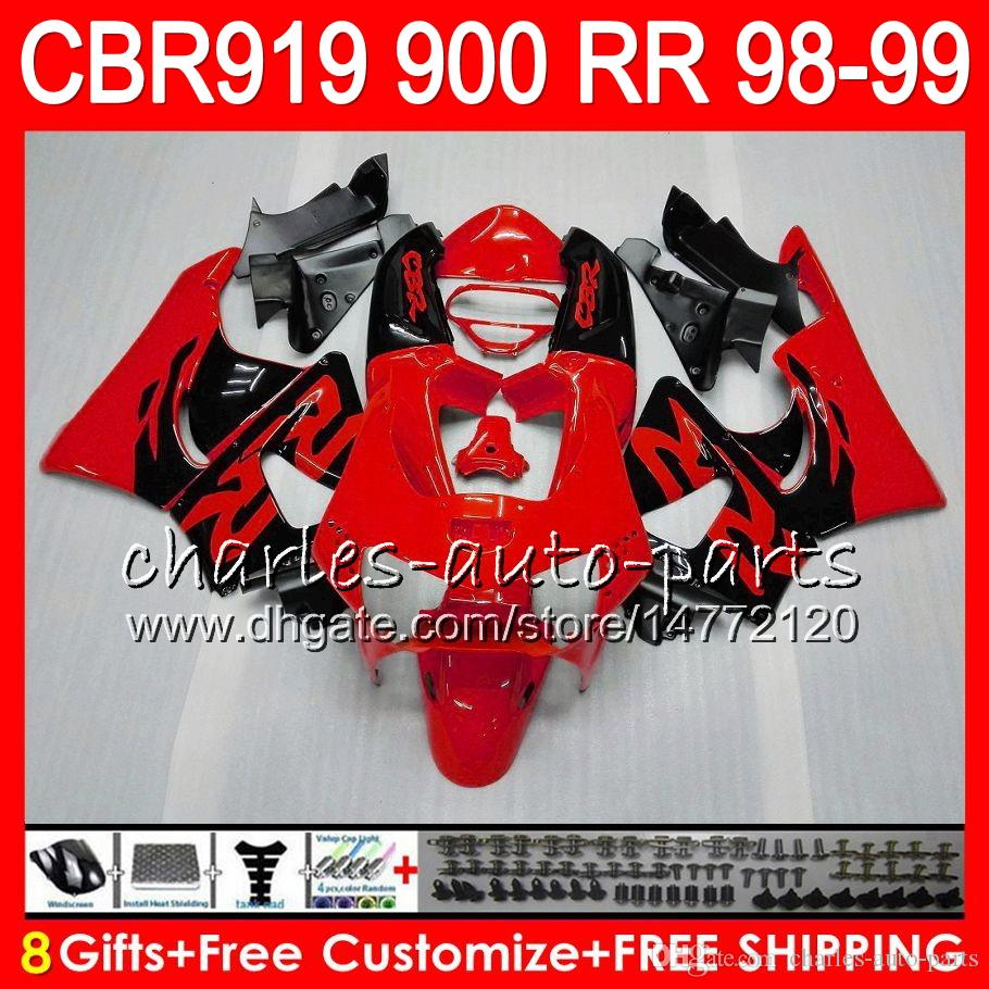 Body For HONDA CBR 919RR CBR900RR CBR919RR 98 99 CBR 900RR 68HM6 TOP Glossy red CBR919 RR CBR900 RR CBR 919 RR 1998 1999 Fairing kit 8Gifts