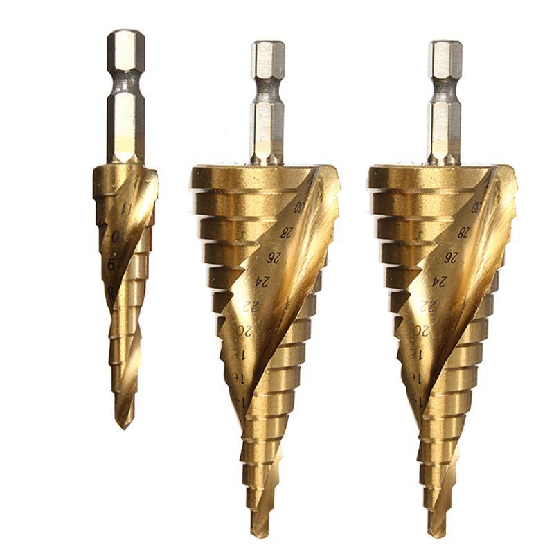 HSS Spiral Grooved Step Drill Bit Set Core Drills Cono Bits Bits 1/4