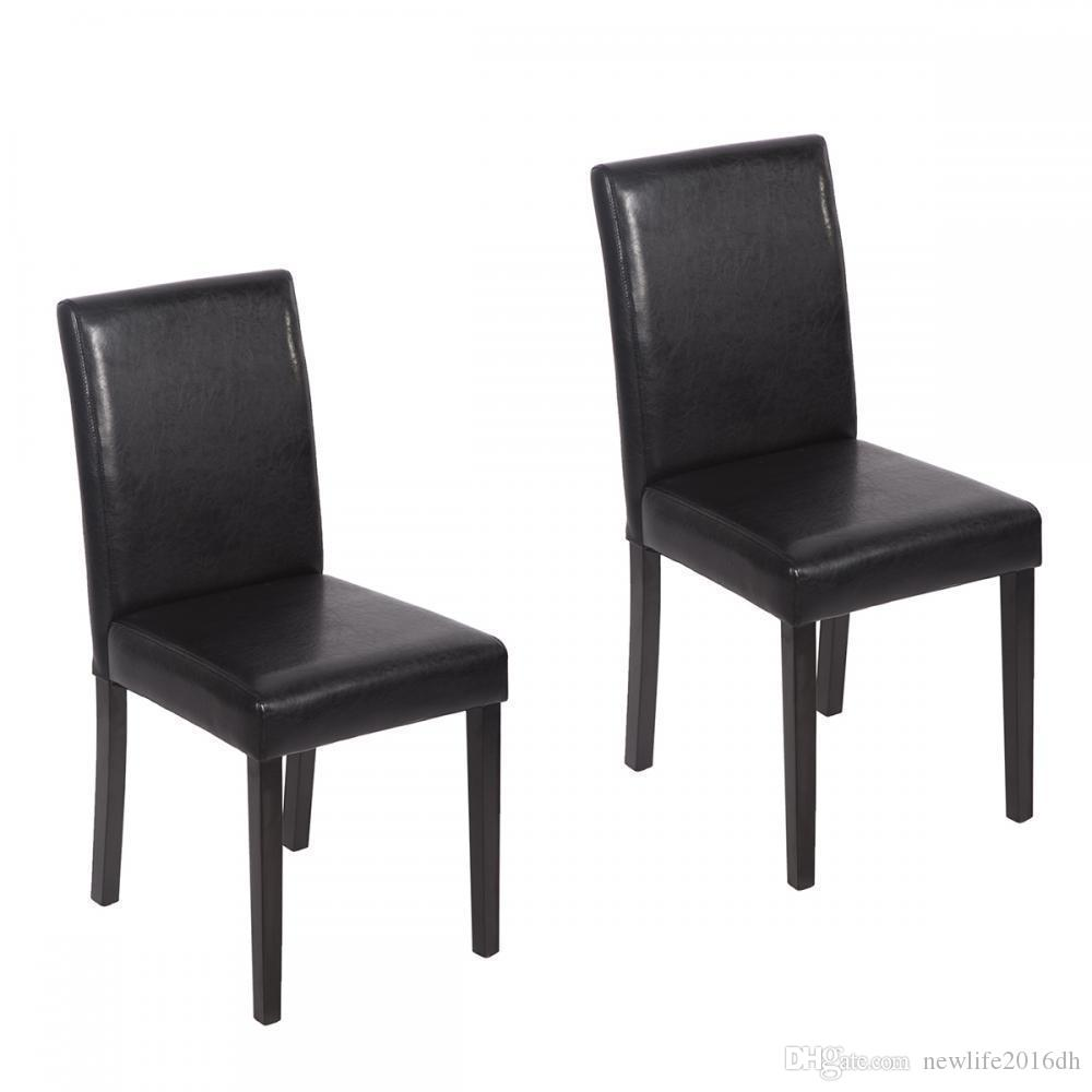 Black Leather Contemporary Elegant Design Dining Chairs Home Room