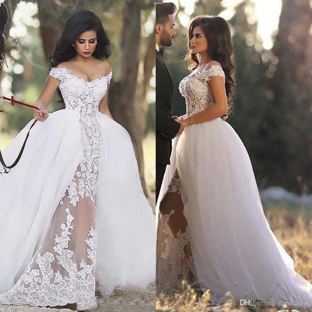 a43dc0fc5a9 Off The Shoulder Tulle Detachable Skirt Lace Sheer Applique Wedding Dresses  Sexy Puffy Bridal Gowns With Overskirt Wedding Dresses From China Wedding  ...