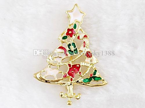 Chrismas Brooch Pin Gifts Gold Plated Crystal Xmas Tree Santa Claus Multi Color Alloy Christmas Pins Brooches Set For Xmas Party Accessories