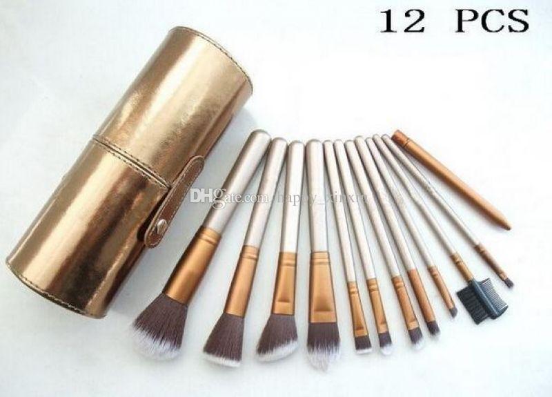 ¡El envío directo de la fábrica DHL libera los nuevos cepillos del maquillaje cepillo de 12 pedazos con la caja del soporte de vaso del oro!