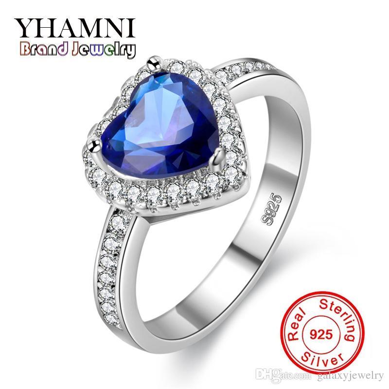 49d0fe9fe034 Compre YHAMNI Anillo De Gema Azul En Forma De Corazón De Lujo SONA CZ  Diamante De La Joyería Fina 925 Anillos De Bodas De Plata Pura Para Mujeres  Q J002 A ...