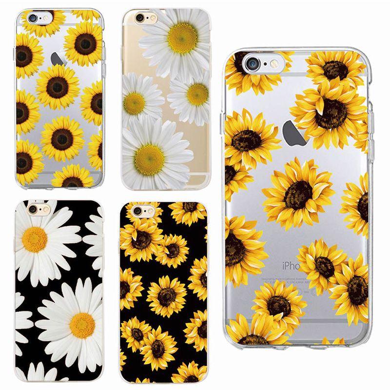 the best attitude cca48 7a263 Cute Summer Daisy Sunflower Floral Flower Soft Clear Phone Case Fundas  Coque For iPhone 7 7Plus 6 6S 6Plus 8 8PLUS X SAMSUNG