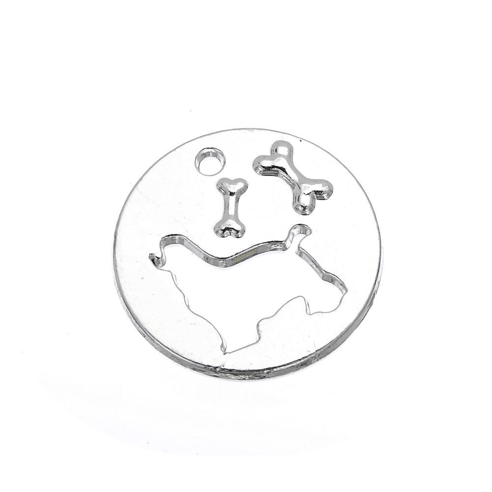 nouvelle mode plaqué or / rhodium animal creux sur chien et os Design charme rond bijoux de mode