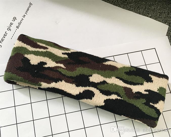 Tarnung-Farben-Wolle strickte Stirnband-Haar-Verpackung für Frauen Druckmilitärs-elastische Torsion Turban-Yoga-Sport-Stirnband-Kopfbedeckung /