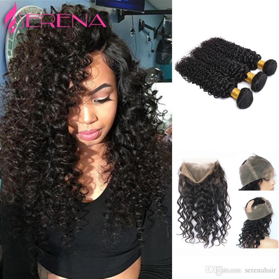 360 Lace Frontal Closure With Bundles Raw Malaysian Hair Bundles With Closure Deep Wave Curly Hair 360 Frontal Band With Bundles
