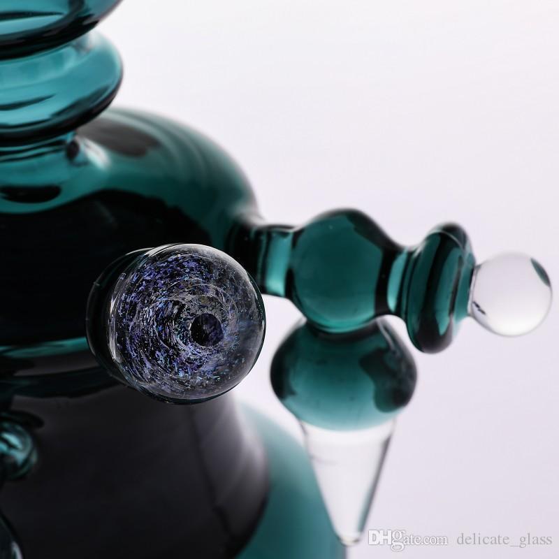 Thick Base bong water pipes Hunter Green 22cm Tall Glass Bongs Cyclone Helix bongs Glass intricate perc oil rigs bubbler Smoking Hookahs
