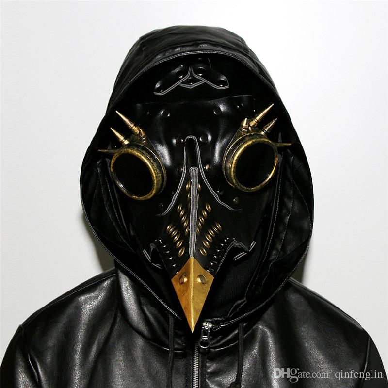 Black Pu Leather With Rivet And Goggles Steampunk Festival Party Halloween Masquerade Mask Plague Bird Long Beak Full Face Gothic Mask Cospl