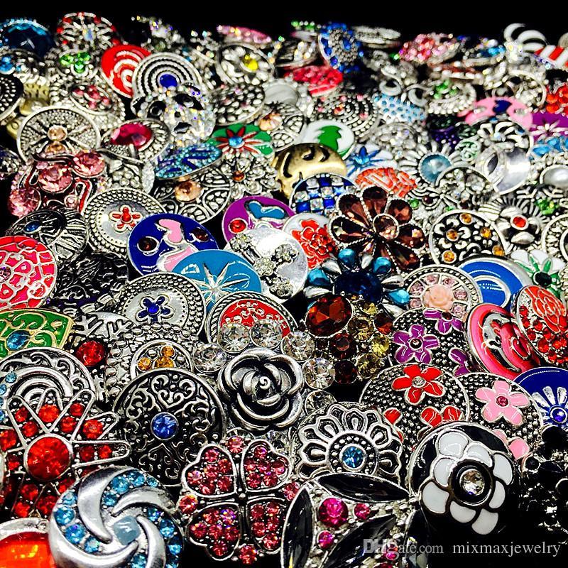 Оптовая продажа 100 шт. / Лот Массовые лоты Mix Стили имбирь Мода 18 мм металлический Хрусталь DIY Snaps Button Snap Ювелирные Изделия Новый