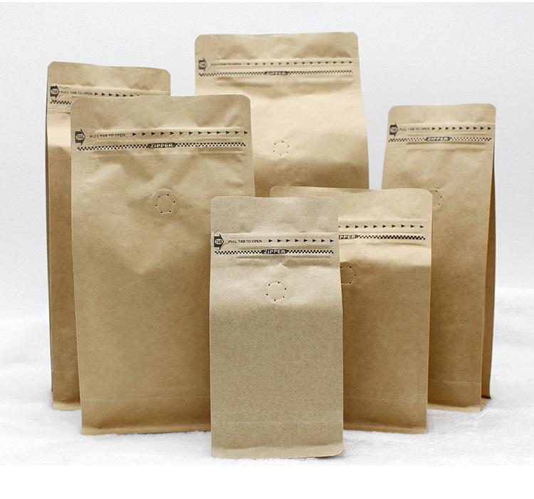 stand up coffee bean/tea packing bag kraft paper bag with air valve open design with ziplock 265*135*75cm free shippping by DHL