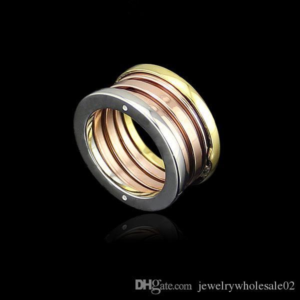 Anneau de couleur de bijoux en gros printemps couple une version étroite de printemps trois anneaux de couleur trois anneaux de printemps