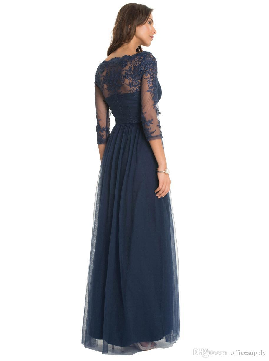 Custom Made Vintage Dark Navy Lace Sheer Mother of the Bride Groom Dresses with Long Sleeves Floor Length Evening Wear Gowns