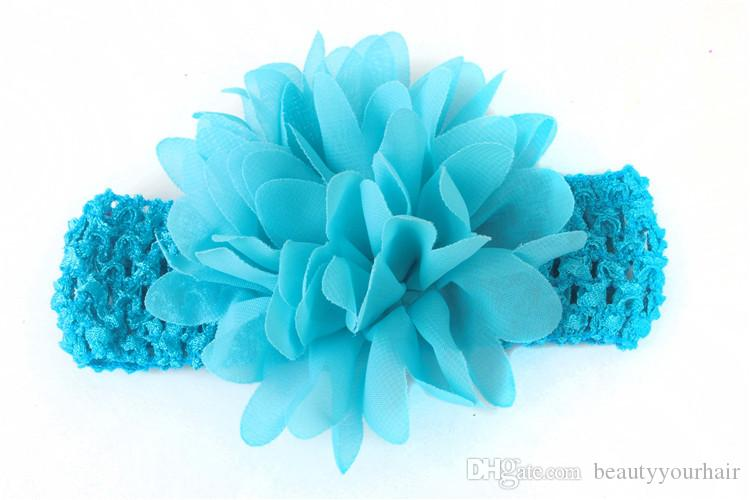 Beautiful Chiffon flower hair bands baby infant kids hair accessories newborn headbands elastic crochet head bands