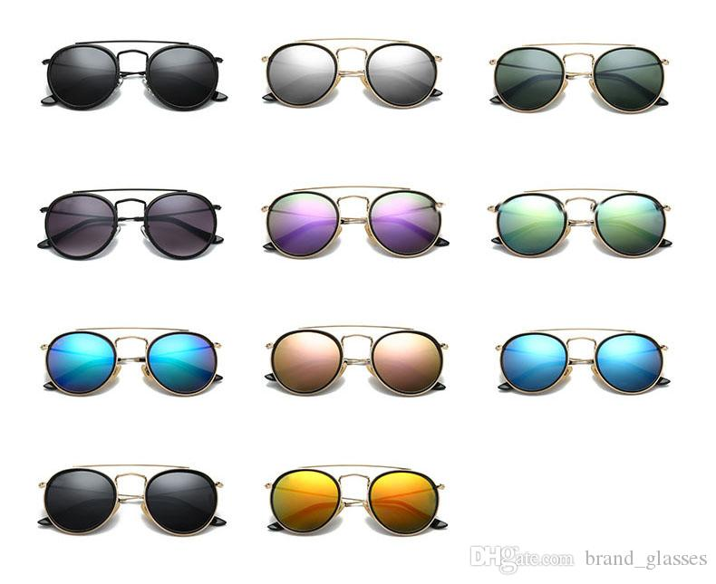 Hot Classic sunglasses for women metal frame double Bridge sun glasses Steampunk Goggle With free brown cases and box