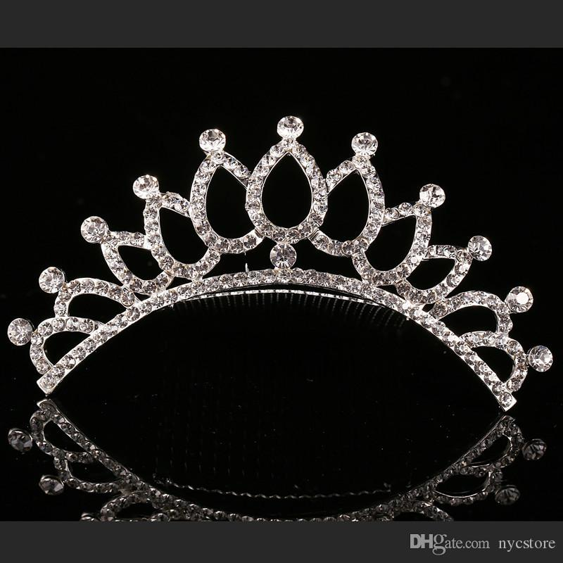 Sevimli Çocuk tiara taç Düğün Takı Çiçek kız prenses kristal taklidi Tiara Doğum Günü Balo Parti Hediye