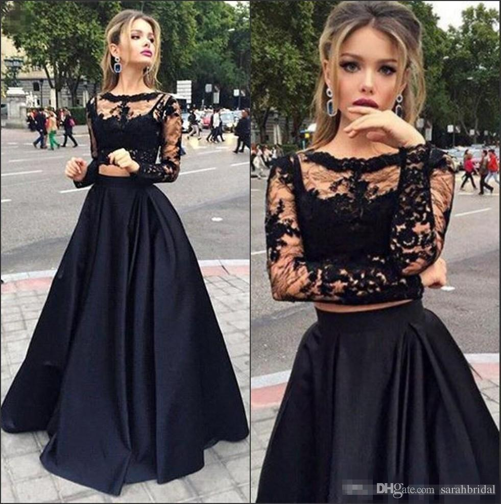 Hot Sale Black Cheap Two Pieces Formal Prom Dresses 2017 Sheer Long Sleeves Lace Top Satin A line Floor Length Evening Event Wears