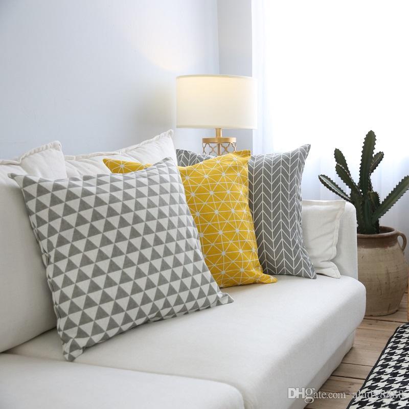 Yellow Geometric Decorative Cushion Cover Geometric Grey Throw Custom Yellow And Grey Decorative Pillows