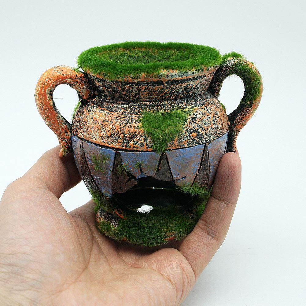 vase en résine avec de la mousse aquarium décoration accessoires pour poissons réservoir de crevettes paysage ornements décoration de la maison