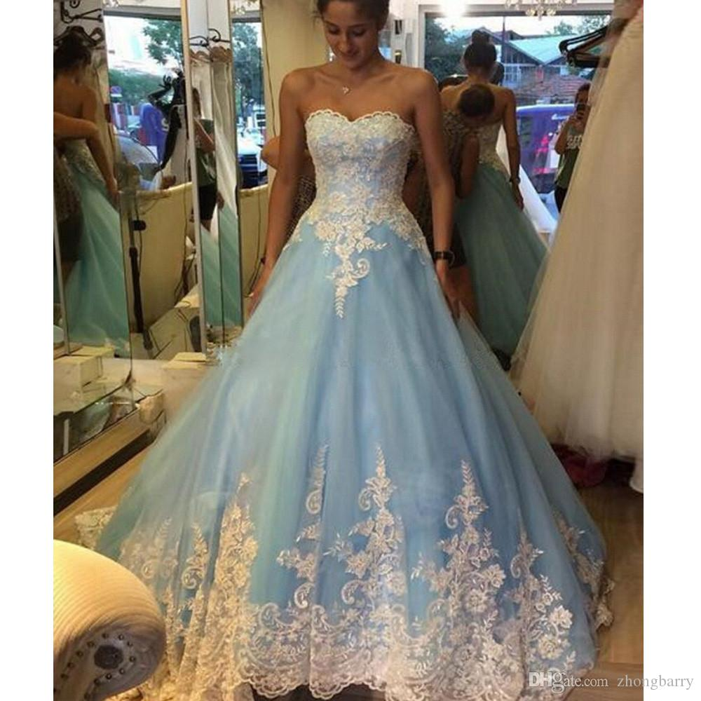 Discount Charming Colorful Blue Wedding Dresses 2017 Lace Appliqued ...