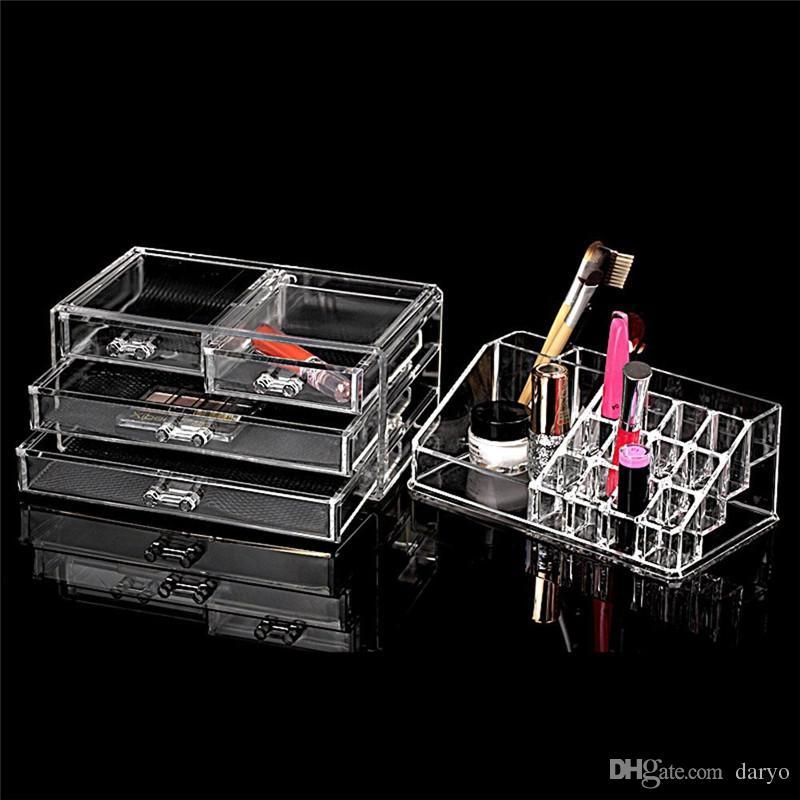 Acrylic Cosmetic Makeup Organizer Jewelry Display Boxes Bathroom Storage Case Set W/ 4 Large Drawers