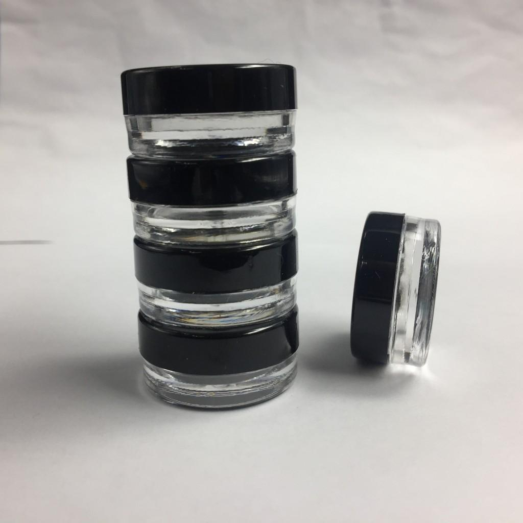 High Quality empty Plastic Container Jars Round Black Screw Cap Lid With Clear Base Cosmetic Cream Pot Makeup Eye Shadow Nails Powder Bottle