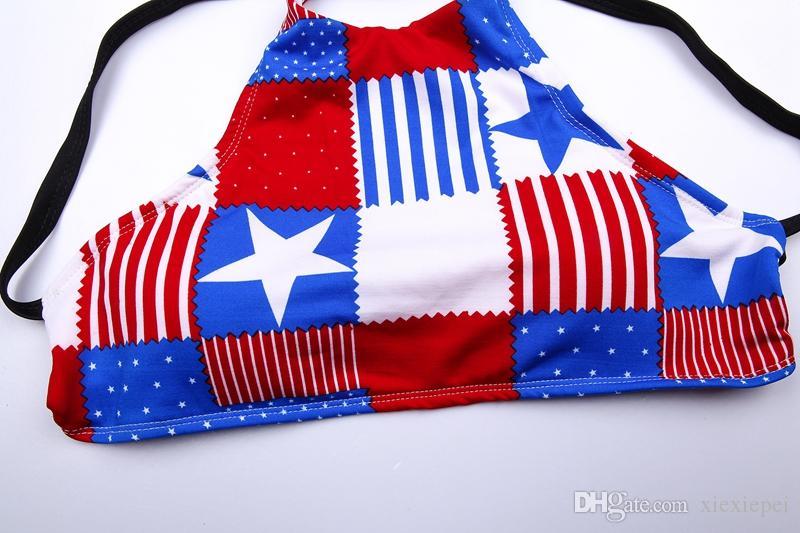 Traje de baño de la bandera de impresión Halter Bikini Set 2017 últimas mujeres de cintura baja acolchado halter vendaje 2 piezas traje de baño Halter trajes de baño