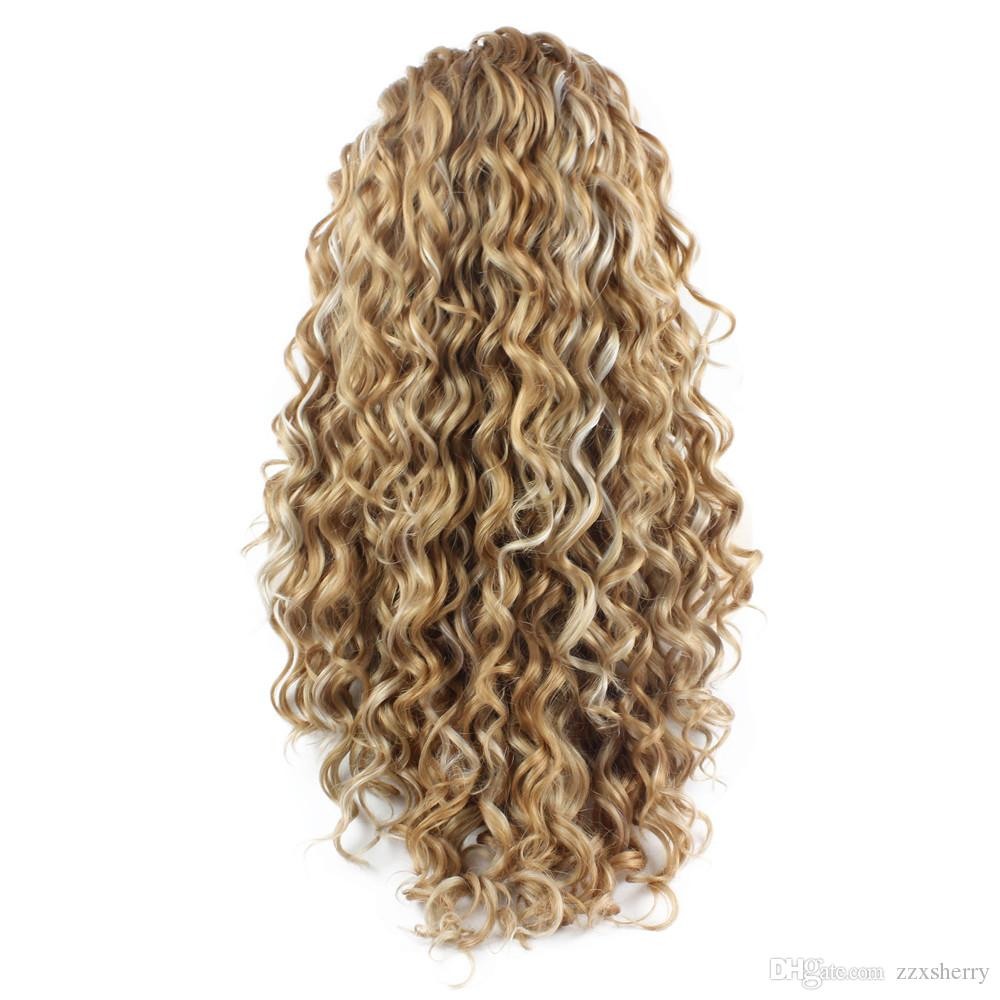26inch Long Curly Blonde Mix Heat Resistant Fiber Hair Synthetic Lace Front Wig