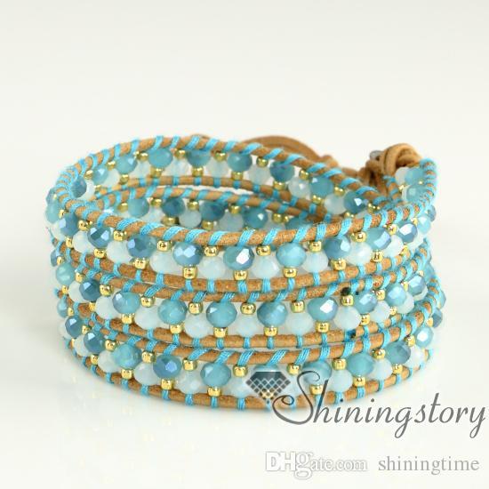Abrigo de pulseras de cuero pulseras para mujeres Abrigo de cuero personalizado pulseras Pulseras de cuentas hechas a mano Pulseras de cuero austra