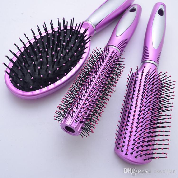 Set di 3 pacchi di capelli, districante rullo di capelli arricciacapelli rotondi spazzole capelli, cuscino di massaggio del cuoio capelluto spazzola capelli la cura dei capelli personale