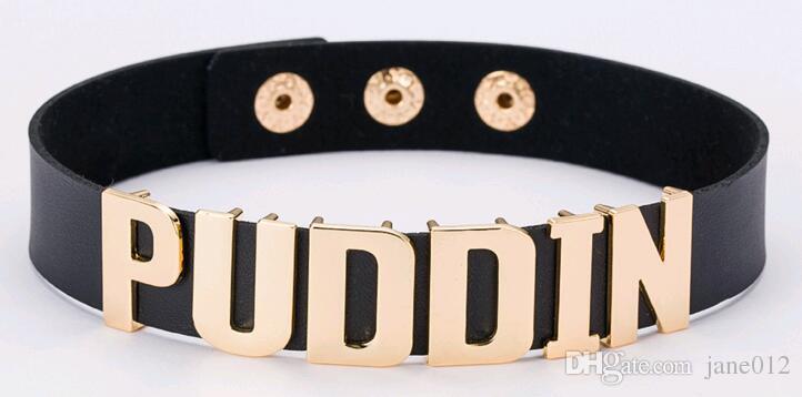 Harley Quinn PUDDIN Colares Gargantilha Esquadrão Suicida Letra Simulação Colares De Couro para Mulheres Dos Homens de Itens de Venda Quente