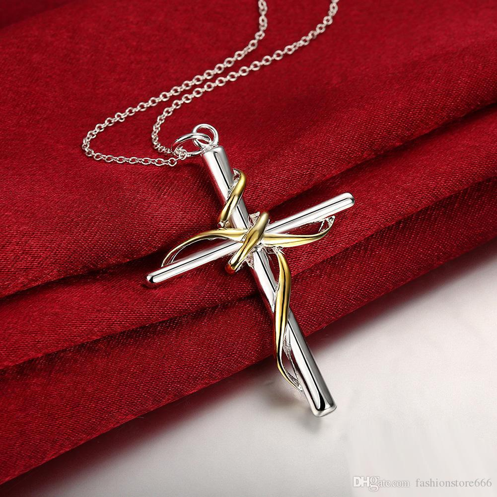 Fashion Jewerly 925 Sterling Silver Plated Elegant Classic Cross Pendant Necklace Twisted Rope Cross Charms Women Accessories New Year Gift