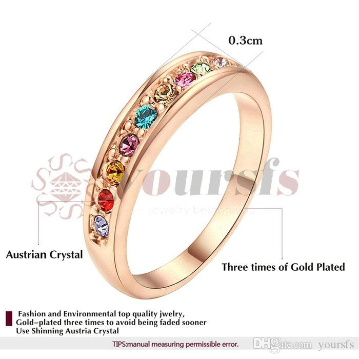 Yoursfs Fashion Jewelry Austrian CrystaRing 18 K White Gold Planted Use Clear Crystal Simulation of Gemstone Bridal Wedding Rings for Women