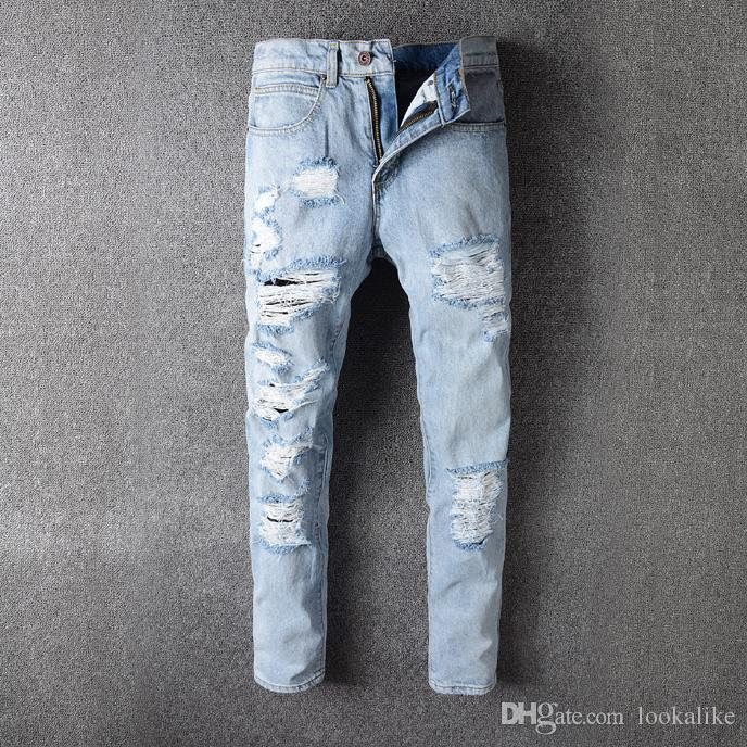 2017 High Quality Fashion Off White Denim Jeans Mens Destroyed Skinny Fit  White Striped Detail From Lookalike, $47.24 | Dhgate.Com - 2017 High Quality Fashion Off White Denim Jeans Mens Destroyed