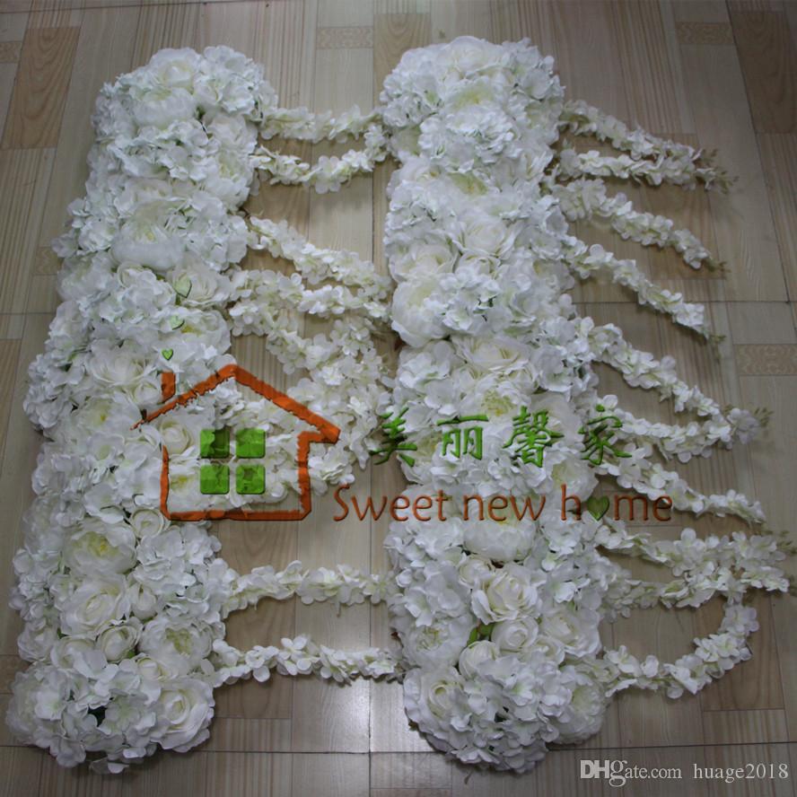 Yeni Simülasyon Çiçek arch gül Ortanca şakayık Wisteria çiçek satır düğün düğün yol kurşun çiçekler 10 adet / grup