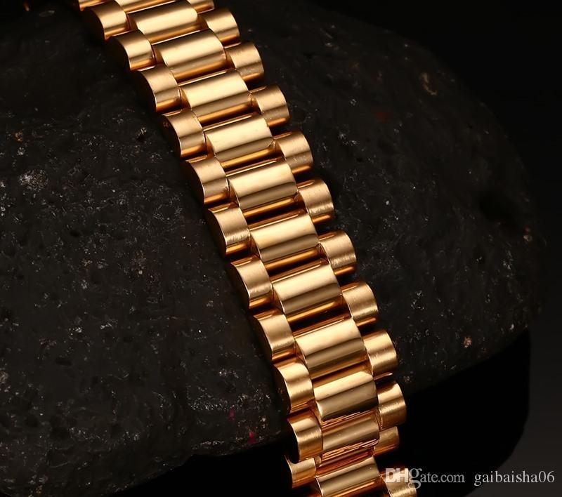 15 мм роскошные мужские часы Band Bracteled позолоченные нержавеющие стальные ремень Ссылки манжеты браслеты ювелирных изделий подарок 22см