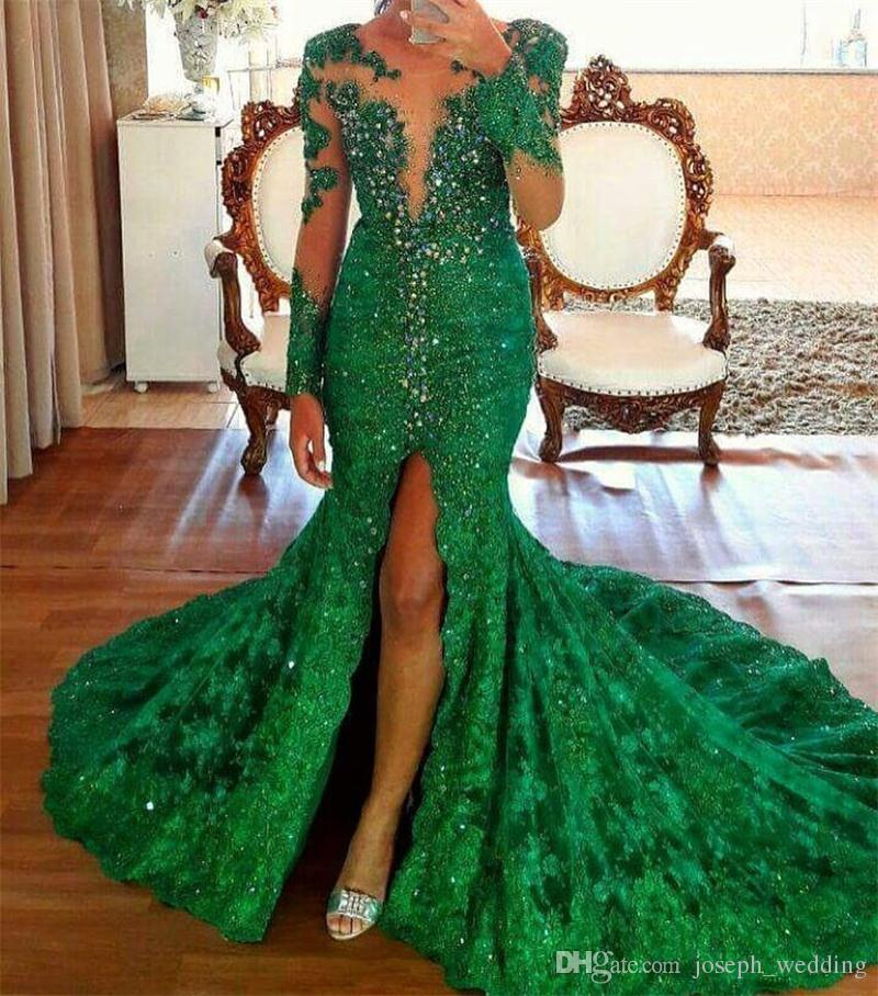 Sexy High Split Emerald Beading Evening Dresses Long Sleeves Vestido de Fiesta 2018 Lace Prom Gown Customize Made